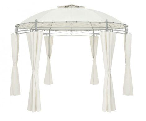 Kerek kerti sátor fémvázas szerelhető bézs pavilon 350 cm átmérőjű pergola