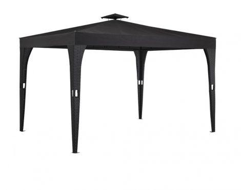 Rattan stílusú napvédő sátor szerelhető kerti pavilon 3x4 méter sörsátor fekete-antracit színben
