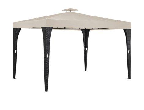 Rattan stílusú napvédő sátor szerelhető kerti pavilon 3X3,9m sörsátor fekete/krém színben
