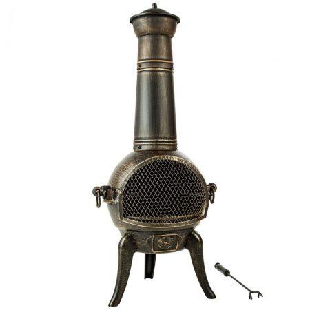 Kerti tűzhely öntöttvas tűztér. Nagyobbrészt időtálló öntöttvasból készült, antikolt festéssel.