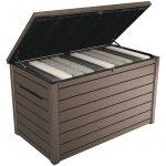 Keter kerti tároló műanyag kerti láda fa hatású 850 liter 147x83x86 cm barna doboz Curver Ontario