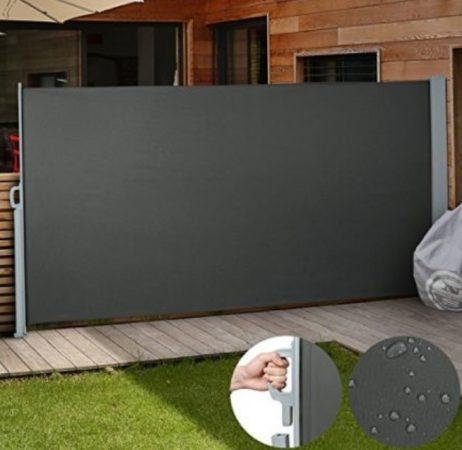Kültéri térleválasztó fekete 3x2m kihúzható vízlepergető szövet szélfogó szélvédő