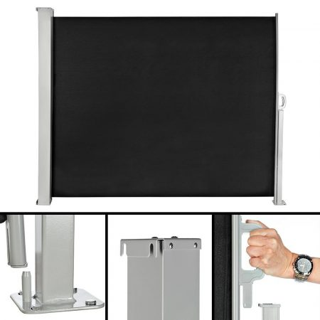 Térelválasztó kihúzható paraván 300x160 cm szélfogó szélvédő fekete szín kültéri és beltéri használatra