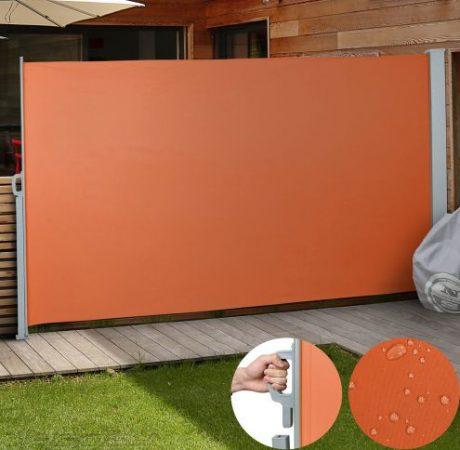 Paraván térelválasztó tört fehér 300x180 cm narancs kihúzható vízlepergető szövet szélfogó szélvédő