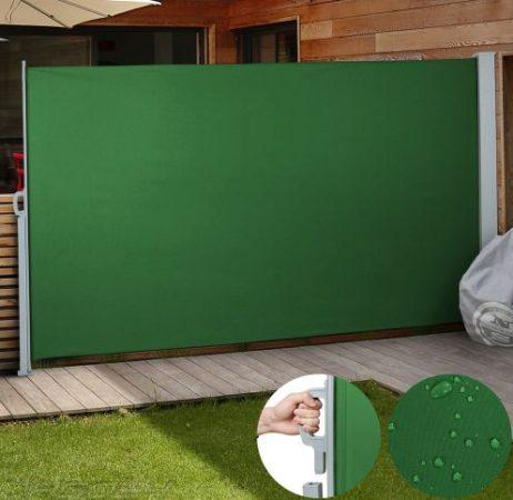 Kültéri térleválasztó sötét zöld 3x1,8m  kihúzható vízlepergető szövet szélfogó szélvédő