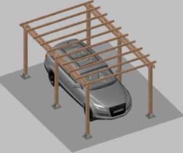 Impregnált fenyőfából készült autóbeálló 5 x 3 méter