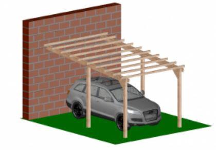 Kocsibeálló pergola oldalfalhoz rögzíthető 5 x 3 méter
