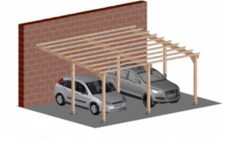 Dupla kocsibeálló pergola oldalfalhoz rögzíthető 5 x 6 méter impregnált fenyőfából