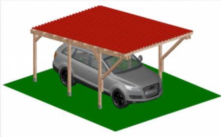 Konzolos kocsibeálló 5 x 3 méter Ecolina hullámlemezzel, leszúrható dübel