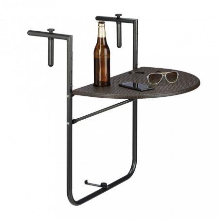 Korlátra szerelhető kávézó asztal kiváló például terasz korlátjára Rattan dizájn