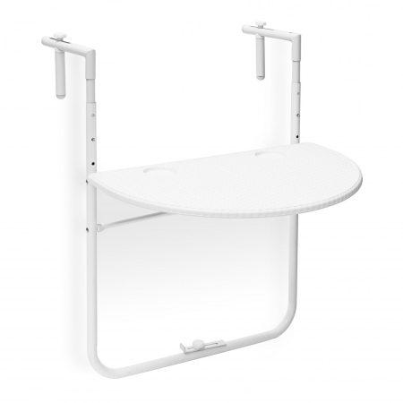 Korlátra szerelhető kávézó asztal fehér színben kiváló például terasz korlátjára Rattan design