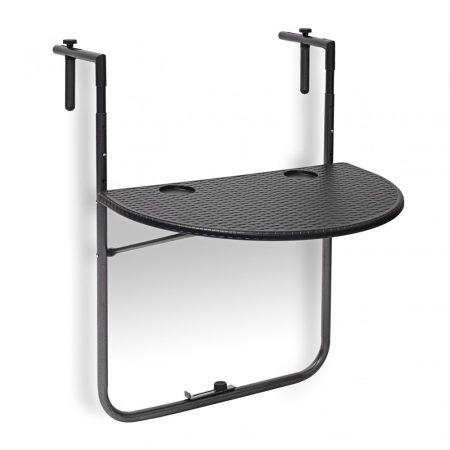 Korlátra szerelhető kávézó asztal fekete színben kiváló például terasz korlátjára Rattan design