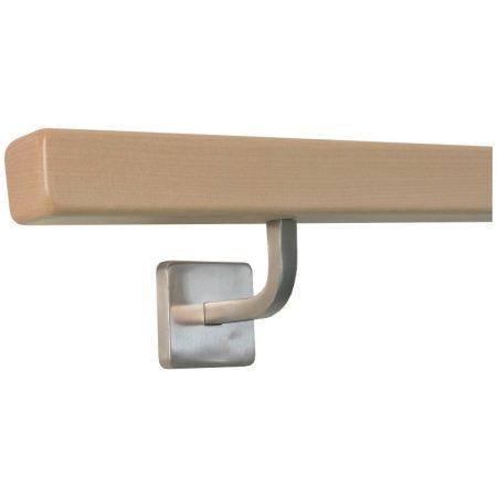 Lépcsőkorlát rozsdamentes acél tartóval 40x40 mm szögletes kapaszkodó 80 cm juharból