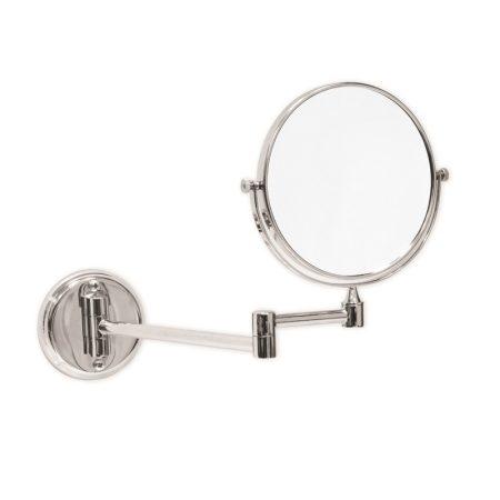 Kozmetikai fali tükör, háromszoros nagyítású, krómozott réz