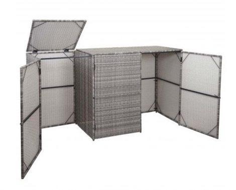 HWC-E25 3 részes Szemeteskuka tároló polirattan 3x 120 liter szürke