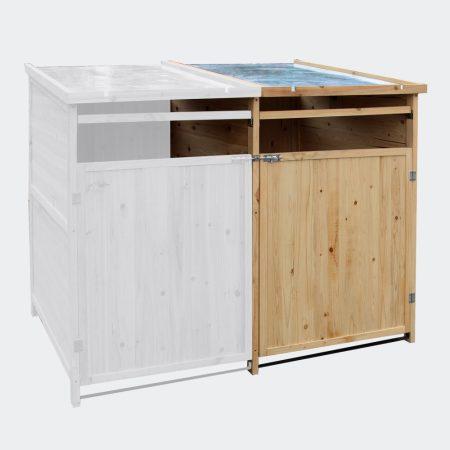 Kukatároló bővíthető szemeteskuka tároló 1 db 80-240 literes kukához fenyőfa és fém szerkezet