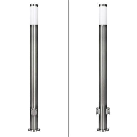 Kültéri lámpa 111cm, 2 foglalattal E27 rozsdamentes acél aljzat