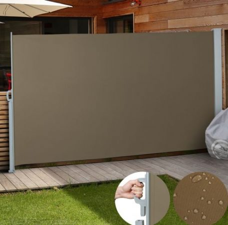Kültéri térelválasztó barna 3x1,6m  kihúzható vízlepergető szövet szélfogó szélvédő