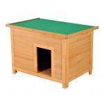 Fa kutyaház 85 x 58 x 58 cm, természetes fa-zöld színben