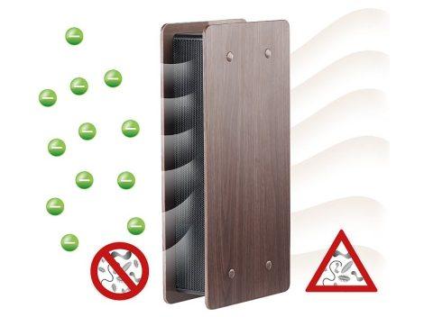 Légtisztító ionizátorral és kapcsolható ventilátorral, sötét fa megjelenés