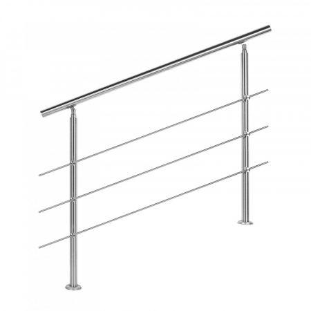 Lépcsőkorlát rozsdamentes 120 cm hosszú kapaszkodó 42 mm átmérővel  saválló inox anyagból, 3 darab l