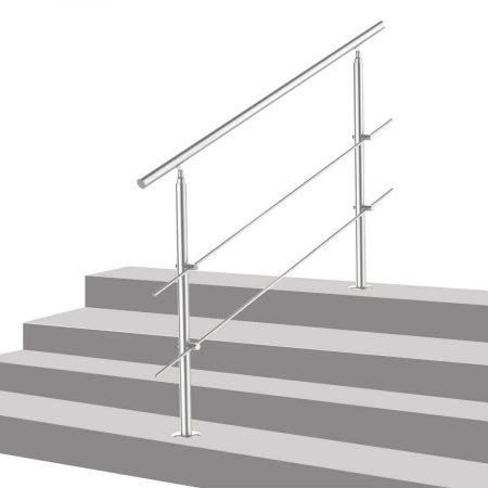 Lépcsőkorlát rozsdamentes 120 cm hosszú kapaszkodó 42 mm átmérővel  saválló inox anyagból, 2 darab l