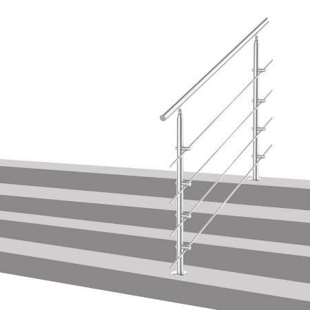 Lépcsőkorlát rozsdamentes 150 cm hosszú kapaszkodó 42 mm átmérővel  saválló inox anyagból, 4 darab l