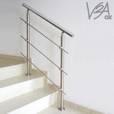 Lépcsőkorlát rozsdamentes 180 cm hosszú kapaszkodó 42 mm átmérővel  saválló inox anyagból, 3 darab l
