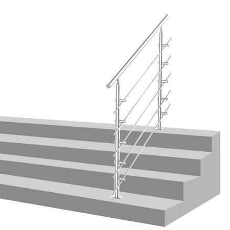 Lépcsőkorlát rozsdamentes 180 cm hosszú kapaszkodó 42 mm átmérővel  saválló inox anyagból, 5 darab l