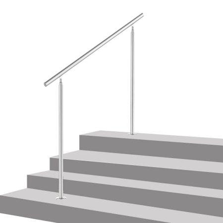 Lépcsőkorlát rozsdamentes 200 cm hosszú kapaszkodó 42 mm átmérővel  saválló inox anyagból, keresztrú