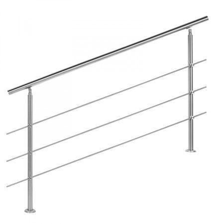 Lépcsőkorlát rozsdamentes 200 cm hosszú kapaszkodó 42 mm átmérővel  saválló inox anyagból, 3 darab l