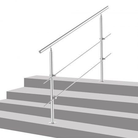 Lépcsőkorlát rozsdamentes 80 cm hosszú kapaszkodó 42 mm átmérővel  saválló inox anyagból, 2 darab le