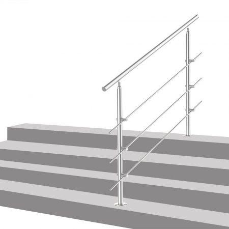 Lépcsőkorlát rozsdamentes 80 cm hosszú kapaszkodó 42 mm átmérővel  saválló inox anyagból, 3 darab le