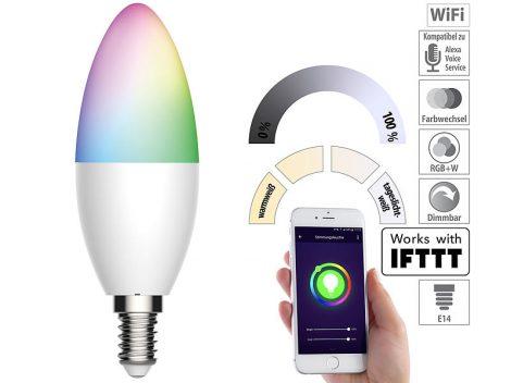 Okos világítás Luminea Home Control WLAN RGB színes izzó 5,5W E14 színváltós lámpa