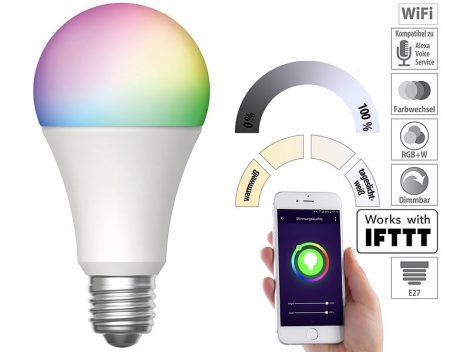 Okos világítás Luminea Home Control WLAN RGB színes izzó 9W színváltós lámpa