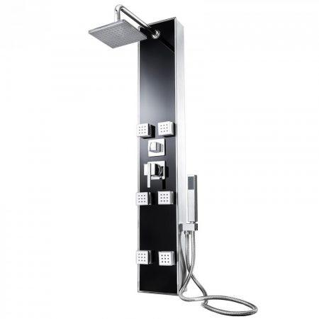 Luxus üveg zuhanypanel rozsdamentes acél zuhanycsővel masszázsfúvókákkal keverőcsappal