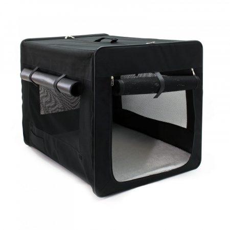 Kutyahordozó összehajtható L méretű összecsukható autós táska kutya, cica számára kényelmes utazó sátor erősített kerettel