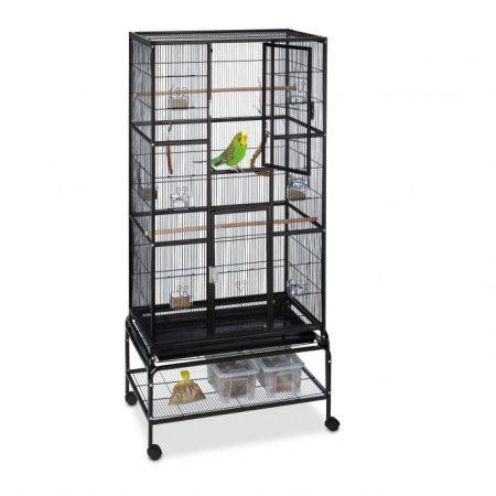 Madárkalitka 4 kerékkel ellátott madárház fekete színben