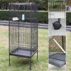 Madárkalitka 4 kerékkel ellátott madárház porszórt vas szürke színben