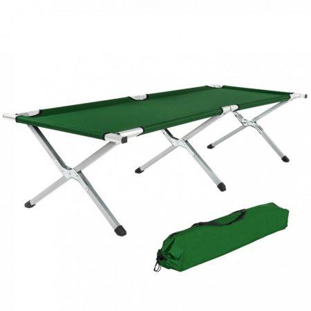 Magasított kempingágy összecsukható kemping/fesztivál ágy 150kg terhelésig, zöld