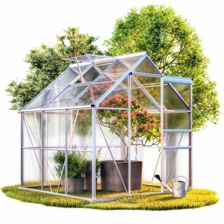 Melegház aluminium keretes polikarbonát üvegház 190x195x195cm 3,7m² horganyzott acél alappal