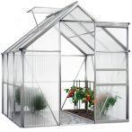 Melegház aluminium keretes polikarbonát üvegház 190x195x195cm 3,7 m²