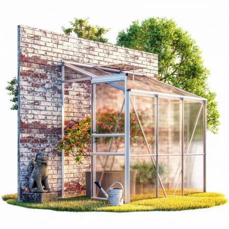 Üvegház polikarbonát lappal melegház aluminium váz 192x127x202 cm 2,3 m² alapkerettel