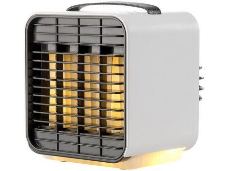 Mobil mini akkumulátoros ventilátor, LED fénnyel, 3 fokozatú, Rendelhető fehér és fekete színben!
