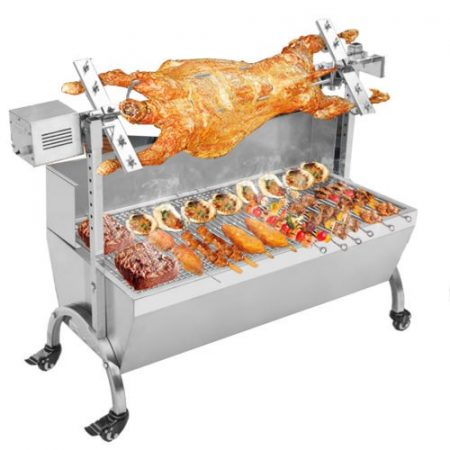 Forgatós grillsütő motoros grillcsirke bárány malac sütő rozsdamentes inox 90 cm-es grillrács