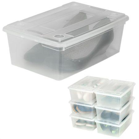 Nagyméretű műanyag tároló fedeles doboz 6 db szett például cipősdoboz