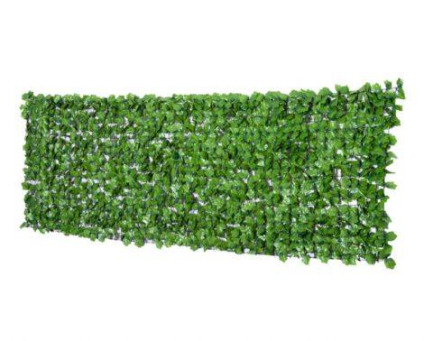Erkélytakaró, kerítéstakaró belátásgátló egyszínű, zöld műsövény korlát takaró háló élethű szőtt levelekkel 300x100 cm világos zöld