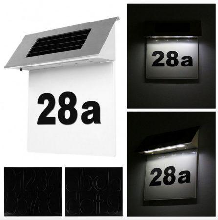 Napelemes házszám világítás
