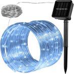 Napelemes lámpa fényfűzér ledszalag 10 méter 100 db hidegfehér akkumulátoros vízálló fénykötél