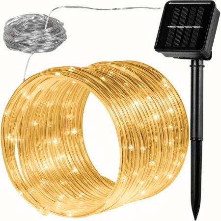 Napelemes lámpa fényfűzér ledszalag 10 méter 100 db meleg fehér akkumulátoros vízálló fénykötél